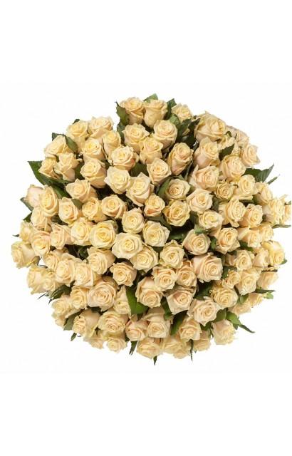 """Букет из 101 персиковой розы """"Персиковое чудо """""""