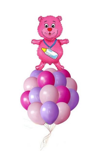 """Связка шаров """"Розовый Мишка"""""""