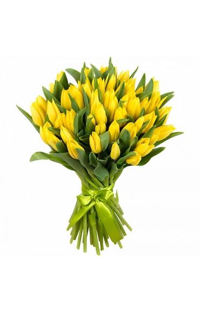 Букет из 31 желтого тюльпана
